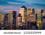 canary wharf at dusk seen from... | Shutterstock . vector #1220335999
