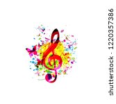 colorful music background with... | Shutterstock .eps vector #1220357386