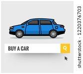 buy a sedan car written in... | Shutterstock .eps vector #1220376703