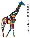 Giraffe In The African Ethnic...