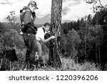 foresters install photo camera...   Shutterstock . vector #1220396206
