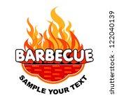 barbecue sticker on fiery... | Shutterstock .eps vector #122040139