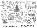 set of hand drawn winter and... | Shutterstock .eps vector #1220405053