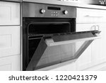 open modern oven built in... | Shutterstock . vector #1220421379