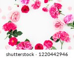 Stock photo floral round frame of pink roses and anemone peony flowers on white background flat lay top view 1220442946