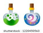 two bottles of magic potion...   Shutterstock .eps vector #1220450563