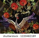 embroidery crane birds  golden... | Shutterstock .eps vector #1220482189