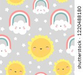 clouds rainbows and stars cute... | Shutterstock .eps vector #1220488180