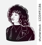 whitney houston vector sketch... | Shutterstock .eps vector #1220491186