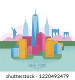 new york skyline. travel and... | Shutterstock .eps vector #1220492479