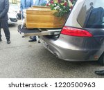 coffin in the hearse during a... | Shutterstock . vector #1220500963