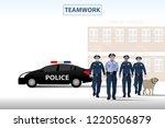 vector policeman standing in... | Shutterstock .eps vector #1220506879