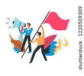 protesting people with flags... | Shutterstock .eps vector #1220509309