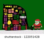 santa carry big bag with gifts - stock photo