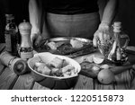 black and white  woman is... | Shutterstock . vector #1220515873