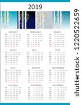 four seasons 2019 calendar with ... | Shutterstock .eps vector #1220522659