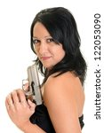 woman shooting on a white... | Shutterstock . vector #122053090