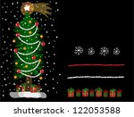 set with christmas tree with gifts - stock vector
