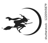 witch on broom icon. simple... | Shutterstock . vector #1220545879