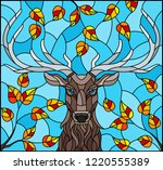 illustration in stained glass... | Shutterstock .eps vector #1220555389