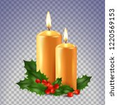 two candles and holly isolated... | Shutterstock .eps vector #1220569153