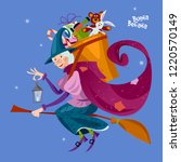 befana. old woman flying on a... | Shutterstock .eps vector #1220570149