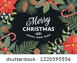 engraving christmas card with... | Shutterstock .eps vector #1220595556