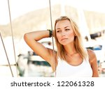 Beautiful Woman Sailing  Young...