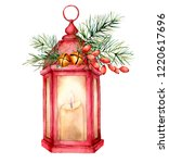 Watercolor Christmas Red...