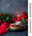 Stock photo traditional russian christmas new year salad with beetroot and herring shuba 1220618020