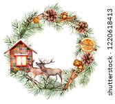 watercolor christmas wreath... | Shutterstock . vector #1220618413
