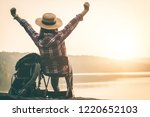 female tourists camping in...   Shutterstock . vector #1220652103