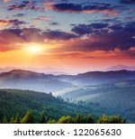 Stock photo majestic sunset in the mountains landscape carpathian ukraine 122065630