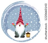 christmas card with gnome.... | Shutterstock .eps vector #1220660143