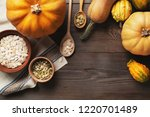 frame of pumpkins of different... | Shutterstock . vector #1220701489