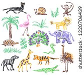 wild animals set. crayon like... | Shutterstock .eps vector #1220706439