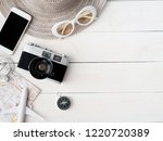 top view travel concept with... | Shutterstock . vector #1220720389