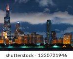 downtown chicago cityscape... | Shutterstock . vector #1220721946