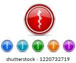 silver metallic chrome border...   Shutterstock .eps vector #1220732719