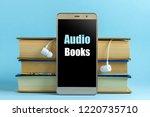 headphones  mobile phone and... | Shutterstock . vector #1220735710