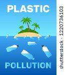 plastic bottles floating near... | Shutterstock .eps vector #1220736103