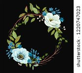 wreath with flowers anemones ... | Shutterstock .eps vector #1220747023