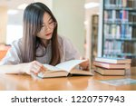 female student study in the... | Shutterstock . vector #1220757943