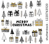 hand drawn set of christmas... | Shutterstock .eps vector #1220763520