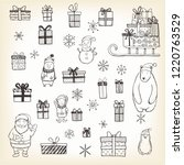 hand drawn set of christmas... | Shutterstock .eps vector #1220763529