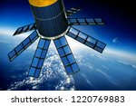 space satellite orbiting the... | Shutterstock . vector #1220769883