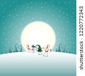 christmas scandinavian gnomes... | Shutterstock .eps vector #1220772343