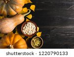 three pumpkins of different... | Shutterstock . vector #1220790133