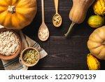 frame of pumpkins of different...   Shutterstock . vector #1220790139