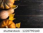 three pumpkins of different...   Shutterstock . vector #1220790160